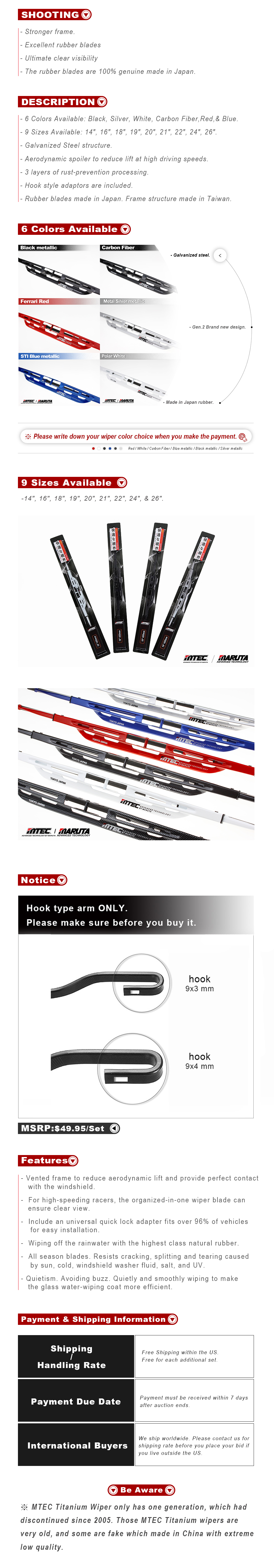 MTEC Sports Windshield Wiper Blades for Acura RSX 2002-2006 Version 2
